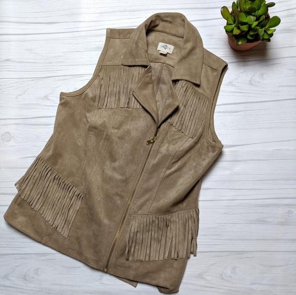 Chico's Jackets & Blazers - Chico's Faux Suede Moto Zip Fringe Western Vest